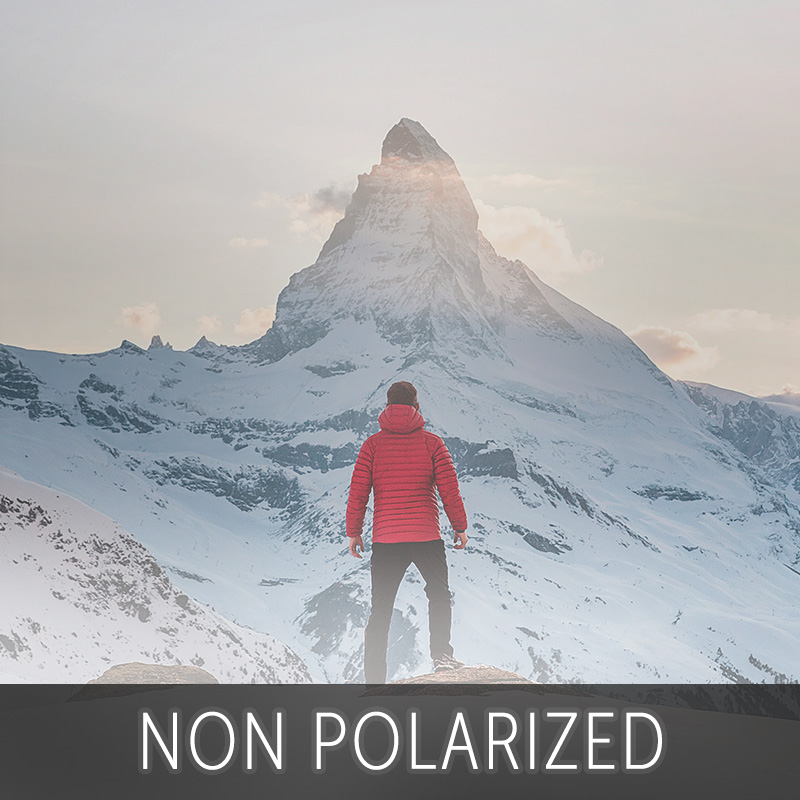 Non polarized lens looking at a mountain for Polarized vs Non Polarized sunglasses | EyeWearThese