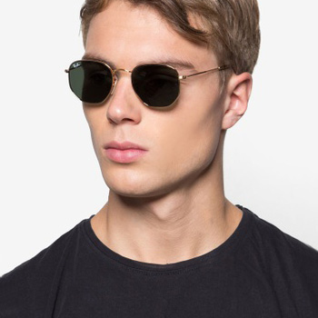 Male model wearing Ray-Ban Hexagonal Sunglasses for Ray-Ban 3548n Hexagonal Sunglasses | EyeWearThese.com