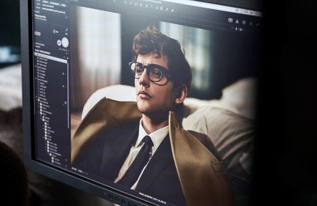 Burberry - Mr Burberry Collection | Photo of Mr Burberry collection photoshoot being edited on screen | EyeWearThese